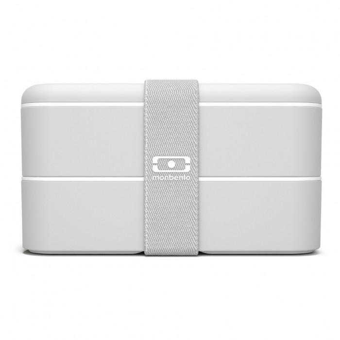 monbento Lunchbox MB ORIGINAL light grau Bento Box, hellgrau, Kunststoff Bento Box mit Gummiband, zweistöckig, frontale Ansicht
