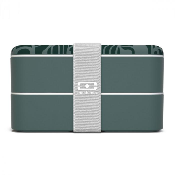 monbento Lunchbox MB ORIGINAL Bento Box, Dschungel Print, Jungle, Kunststoff Bento Box mit Gummiband, zweistöckig, dunkelgrün, frontale Ansicht