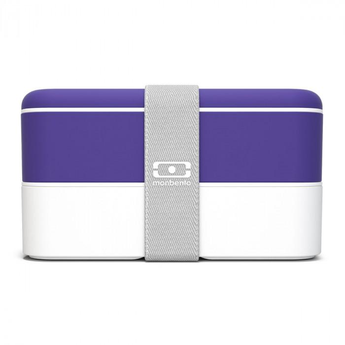 monbento Lunchbox MB ORIGINAL Bento Box Ultra Violet, lila-weiß, Kunststoff Bento Box mit Gummiband, zweistöckig, frontale Ansicht