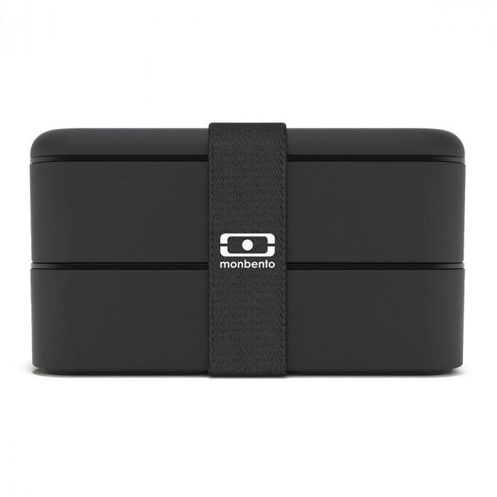 MB ORIGINAL Bento Box von monbento in schwarz. Doppelstöckige Lunchbox mit Gummiband. Auslaufsicher, BPA-frei, ...