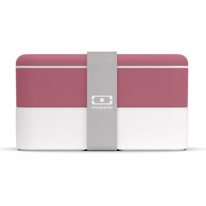 MB ORIGINAL Bento Box: auslaufsichere, zweistöckige Lunchbox mit Gummizugband von monbento. Design Lunchbox rot (blush) - weiß.