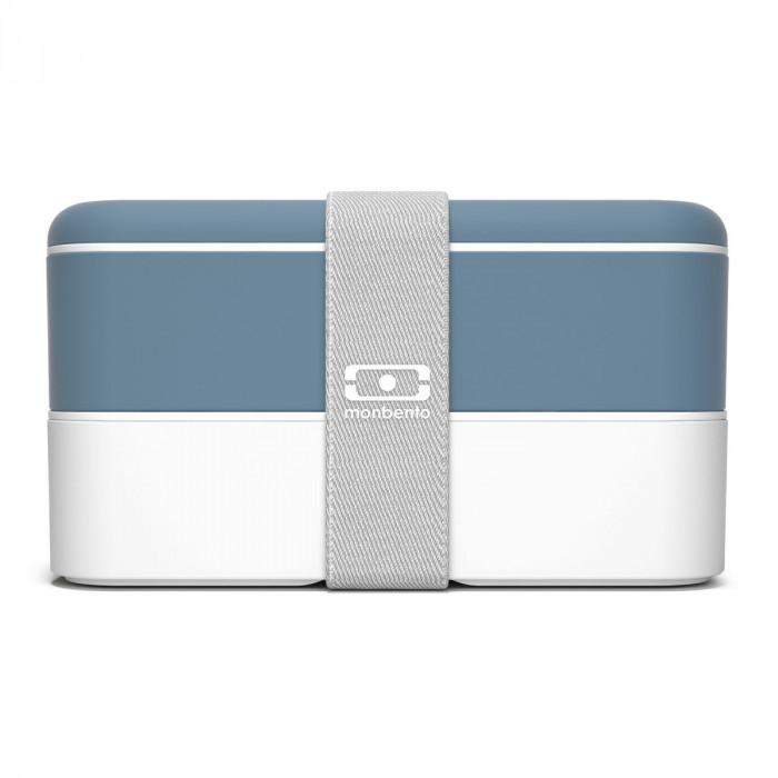 monbento Lunchbox MB ORIGINAL Bento Box, denim blau - weiß - Kunststoff Box - Gummiband