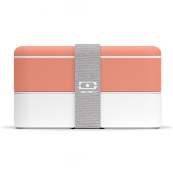 MB ORIGINAL Bento Box: auslaufsichere, zweistöckige Lunchbox mit Gummizugband von monbento. Lunchbox orange (pfirsich) - weiß.