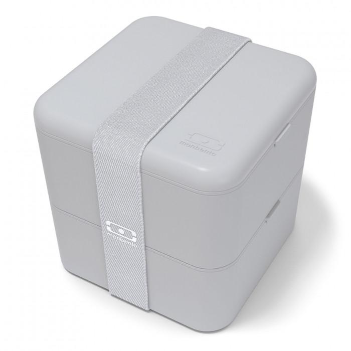 Große Lunchbox monbento MB SQUARE in hellgrau (coton - cotton). Die große Bento Box mit zwei Stockwerken inkl. Gummiband.
