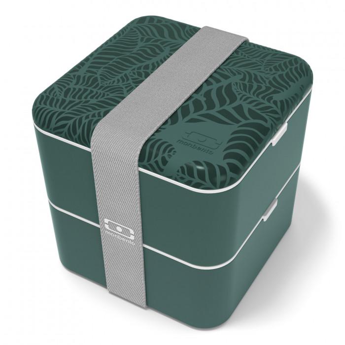 MB SQUARE Lunchbox dunkelgrün von monbento. Große Bento Lunchbox - zweistöckig - BPA-frei ... jungle print.