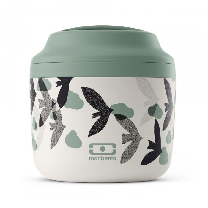 Lunchbehälter / Lunchpot MB ELEMENT BIRDS: doppelwandiger Isolierbehälter grün mit Vögelprint von monbento.