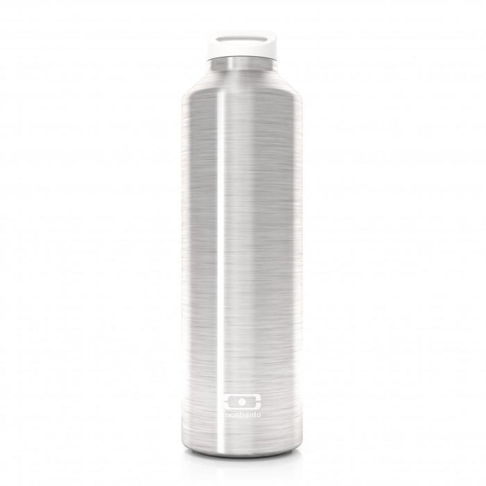Die MB STEEL Thermosflasche mit Teefilter von monbento. Die doppelwandig isotherme Trinkflasche in steel silver.
