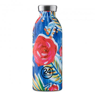 Doppelwandige Thermosflasche CLIMA mit Blumenmotiv. Trinkflasche 0,5 l aus Edelstahl > blumiger Sonderprint REVERIE > auslaufsicher > + 24 h kalt oder 12 h heiß > BPA-frei