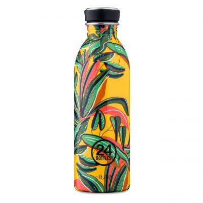 Farbenfrohe 24Bottles Trinkflasche 0,5 l aus Edelstahl mit auslaufsicheren Schraubdeckel und Sonderprint SAVAGE