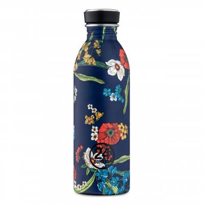 Stylische 24Bottles Trinkflasche 0,5 l aus Edelstahl mit blumigen Print Denim Bouquet. Auslaufsichere Edelstahl-Trinkflasche 24Bottles.