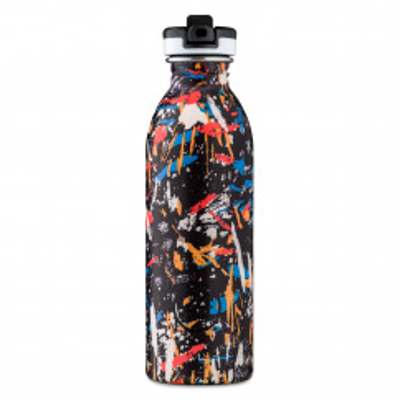 24Bottles Edelstahl Trinkflasche ATHLEISURE graffiti beat. BPA-freie Edelstahltrinkflasche 0,5 l mit Sporttrinkverschluß.