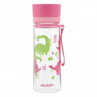 Trinkflasche für Mädchen. Rosafarbene Kindertrinkflasche mit Dinosaurier-Motiv von aladdin. Modell MY FIRST AVEO WATER BOTTLE.