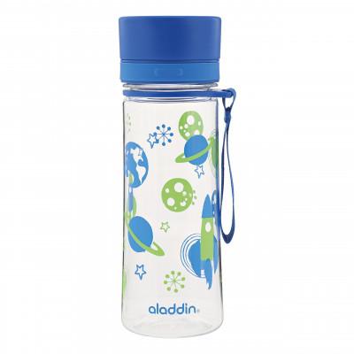 Trinkflasche für Kinder AVEO blau von aladdin design. Superleichte, BPA-freie Trinkflasche für Jungs mit Raketen-, Planeten- und Weltraummotiv.