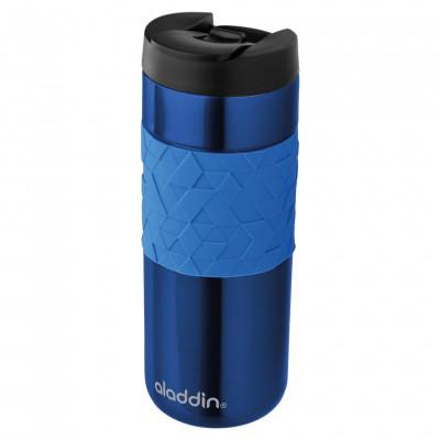 Doppelwandige Thermobecher aus Edelstahl - Isolierbecher 0,47 Liter Easy-Grip Leak Lock von aladdin - auslaufsicherer to go Becher - blau