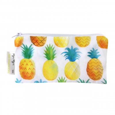Mini Snackbag pineapple von itzy ritzy - wiederverwendbare Snack- und Lunchtüte mit ANANAS-Print. Snacktasche mit Reißverschluss.