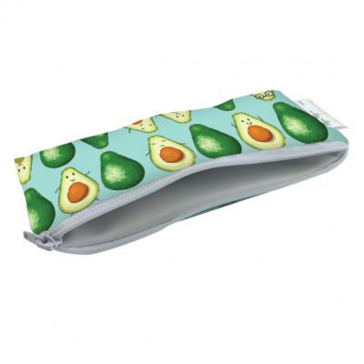 Mini Snackbag von itzy ritzy - wiederverwendbare Snack- und Lunchtüte AVOCADO PRINT. Snacktasche mit Reißverschluss.