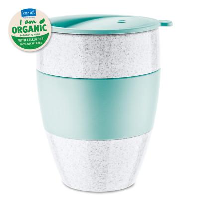 AROMA TO GO ORGANIC 2.0 - Coffee to go Becher 400 ml von Koziol. Kaffeebecher hellblau mint (aqua) aus nachhaltigem Kunststoff.