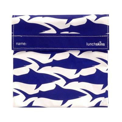 Lunchskin SHARK, die wiederverwendbare Lunchtüte mit Klettverschluss, HAI-Print