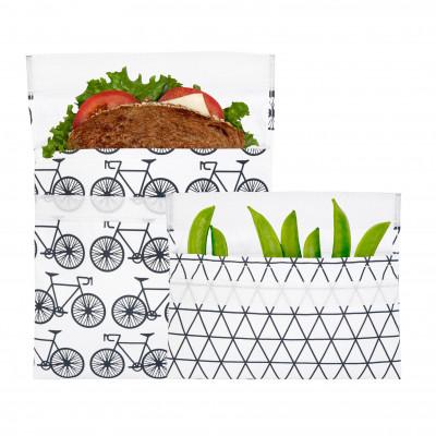 lunchskins 2er-Set BICYCLE. 2 praktische Lunchtüten für unterwegs. 1 Snacktüte mit Linienprint und 1 Sandwichtüte mit Fahrrädern.