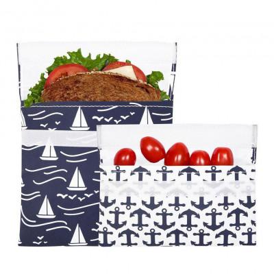 Lunchskins Snacktüte und Sandwichttüte mit Anker- und Segelboot-Motiv. Geliefert als 2er-Set.