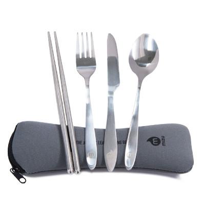 5-teiliges Besteckset mit grauen Neopren Etui, Gabel, Löffel, Messer, Chop Sticks von MIZU
