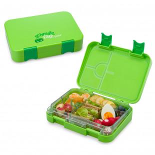 Auslaufsichere Lunchbox für Kinder! Die schmatzfatz Kinderlunchbox in grün variablen Fächern - 6 Fächern / 4 Fächern.