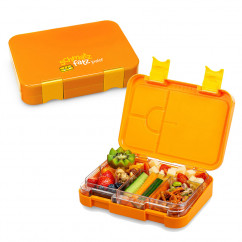Orange Lunchbox JUNIOR für Kinder! Die schmatzfatz Kinderlunchbox 6 Fächern / 4 Fächern.