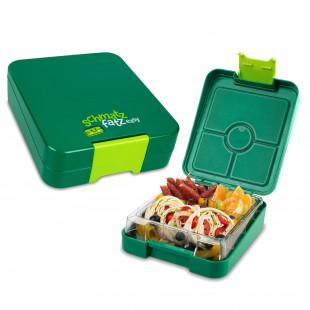 Schmatzfatz Lunchbox für Kinder in grün mit Unterteilungen. Auslaufsichere Kinderlunchbox mit Fächern.