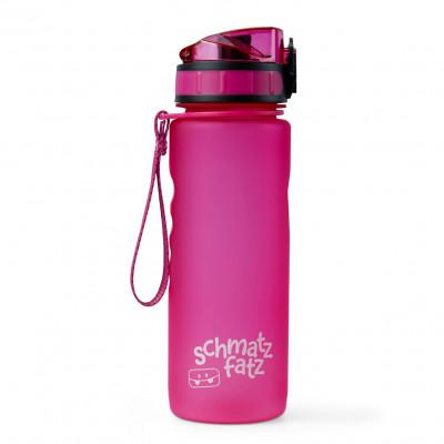 Trinkflasche 0,5 l von schmatzfatz. Auslaufsichere Kinder Trinkflasche 500 ml aus lila/pinkem Kunststoff. Mit 1-Klick-Verschluss, Trageschlaufe und Fruchtsieb.