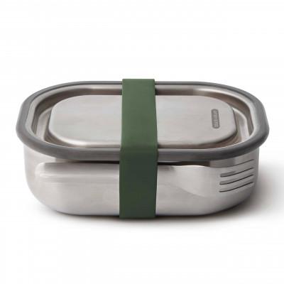 Robuste, auslaufsichere Lunchbox aus Edelstahl. Lunchbox mit Gabel und 0,6 l Volumen. Auslaufsicherer dank Gummirand + Gummizug. Aus der Serie Box Appetit von black and blum design.