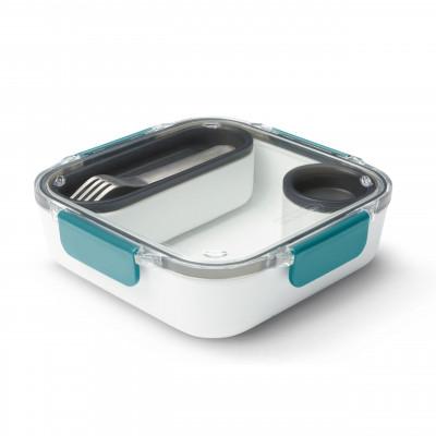 Lunchbox ORIGINAL inkl. Gabel + Behälter in ocean blau von black+blum. BPA-freie, auslaufsiche Lunchbox aus Tritan Kunststoff.