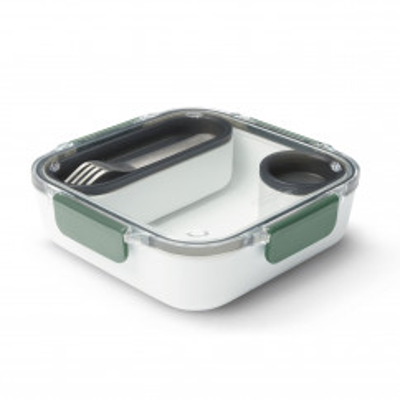 Lunchbox mit Gabel + 2 Behälter von black+blum. Lunchbox eckig olive - BPA-freie, auslaufsiche Lunchbox aus Tritan Kunststoff.