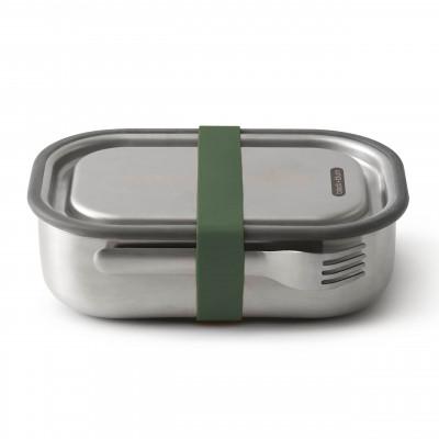 black and blum Lunchbox mit Gabel 1L, Edelstahl, auslaufsicher, olive, Serie Box Appetit