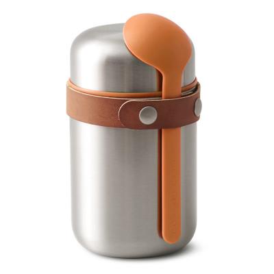 Edelstahl Food Flask Thermo Pot von black+blum Design. Der auslaufsichere, doppelwandige Lunchpot kommt inklusive Löffel.
