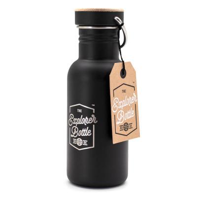 Trinkflasche mit Schraubdeckel - The Explorer - 0,5 Liter, Edelstahl schwarz, luckies