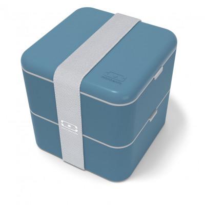 MB SQUARE Bento Box - große, doppelstöckige Lunchbox von monbento - dunkelblau denim