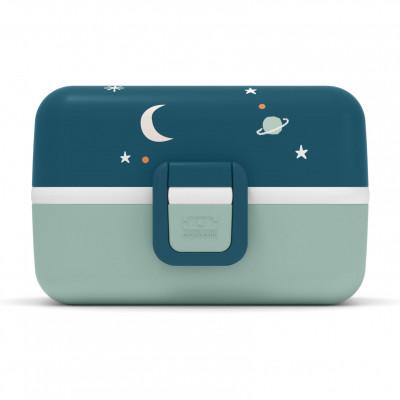 Blaue Kinderlunchbox mit Tiger- und Weltraummotiv. MB TRESOR von monbento. Lunchbox mit Fächern. Lunchbox für Kinder.