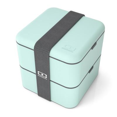Große Lunchbox monbento MB SQUARE in mint (matcha - japanischer Tee). Die große Bento Box mit zwei Stockwerken inkl. Gummiband.